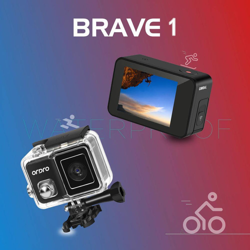New ORDRO Brave 4K Waterproof Action Camera  Sport Cameras with 120°  Wide Angle - Ordro