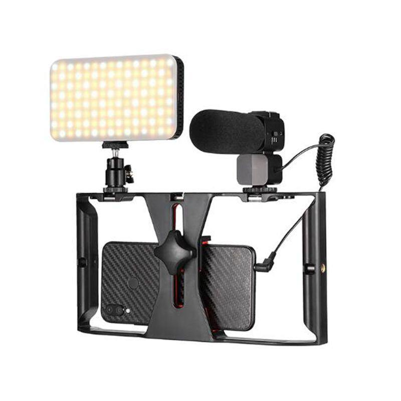 Vlog Live Streaming Kits-Mono Microphone, LED Light, Handhead Stabilizer.