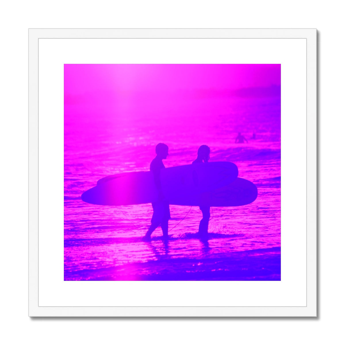Surf Lovers - Sq Framed & Mounted Print