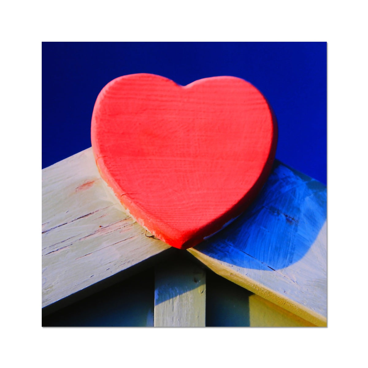 Beach Hut Love Heart - Photo Art Print