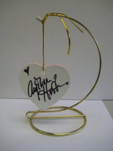 Original Signed Ceramic Heart on Stand by Oscar Winner Anjelica Huston