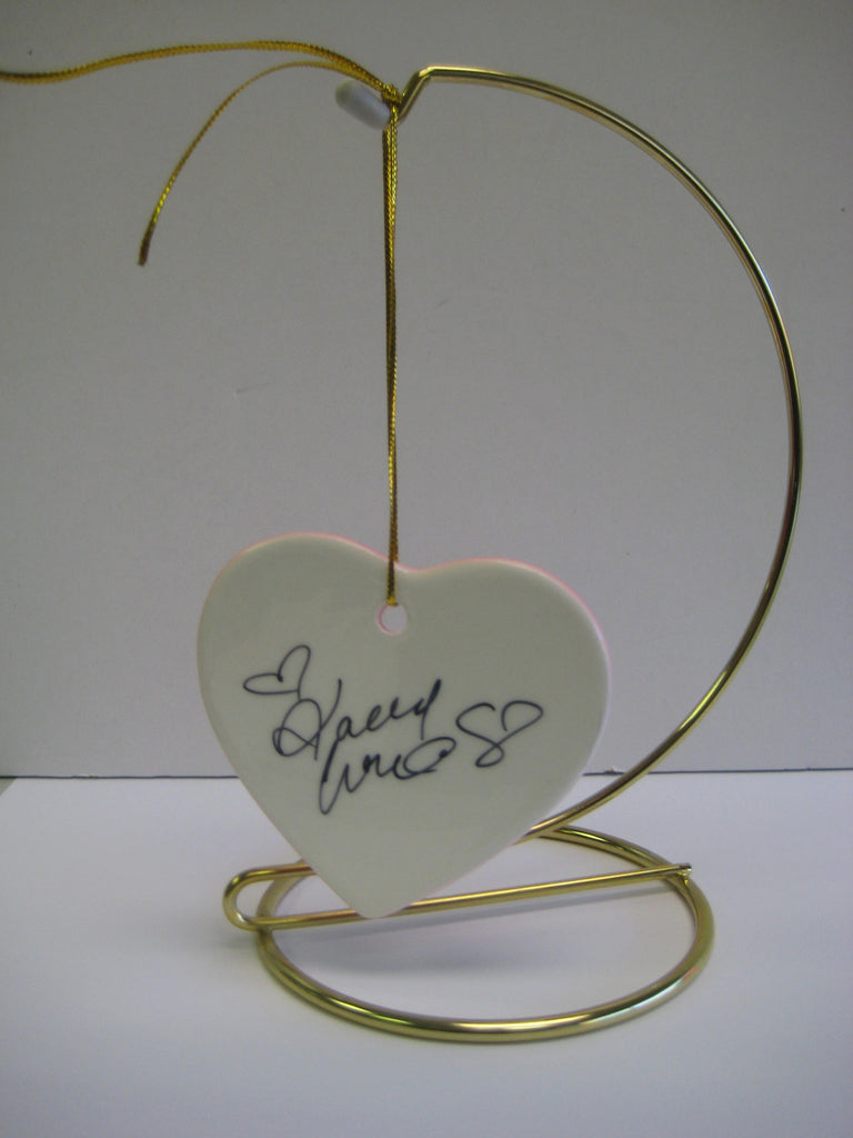 Original Signed Ceramic Heart on Stand by Actress Kaley Cuoco