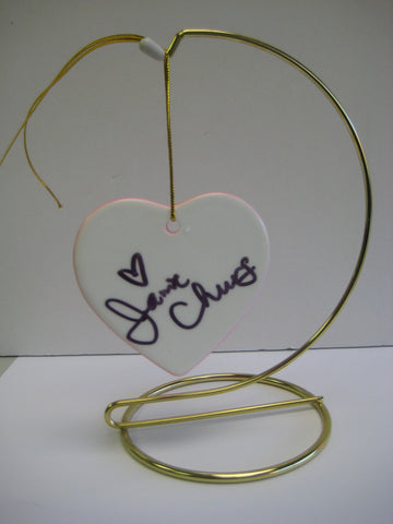 Original Signed Ceramic Heart on Stand by Actress Jamie Chung