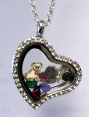 """Love My Dog"" Heart Locket Necklace with Charms"