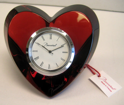Baccarat Crystal Heart Clock