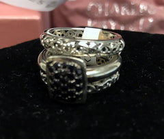 Charles Krypell Sterling Silver Three Ring Stackable Set with 24 Round Black Sapphires