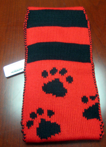 Paw Print and Striped Headband with Button Closure (Choice of 4 Colors)