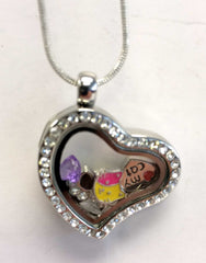 """Love My Cat"" Heart Locket Necklace with Charms"