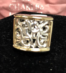 Charles Krypell Sterling Silver & 18k Ring