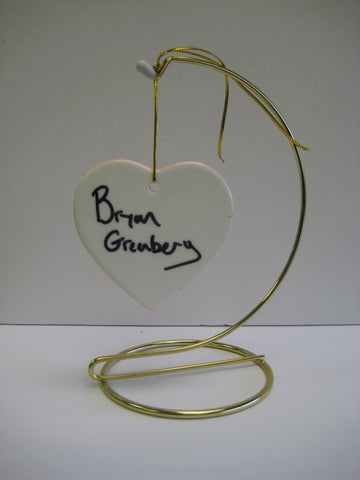 Original Signed Ceramic Heart on Stand by Actor Bryan Greenberg