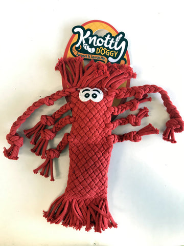Knotty Doggie Woven Rope Octopus (Long) - Red