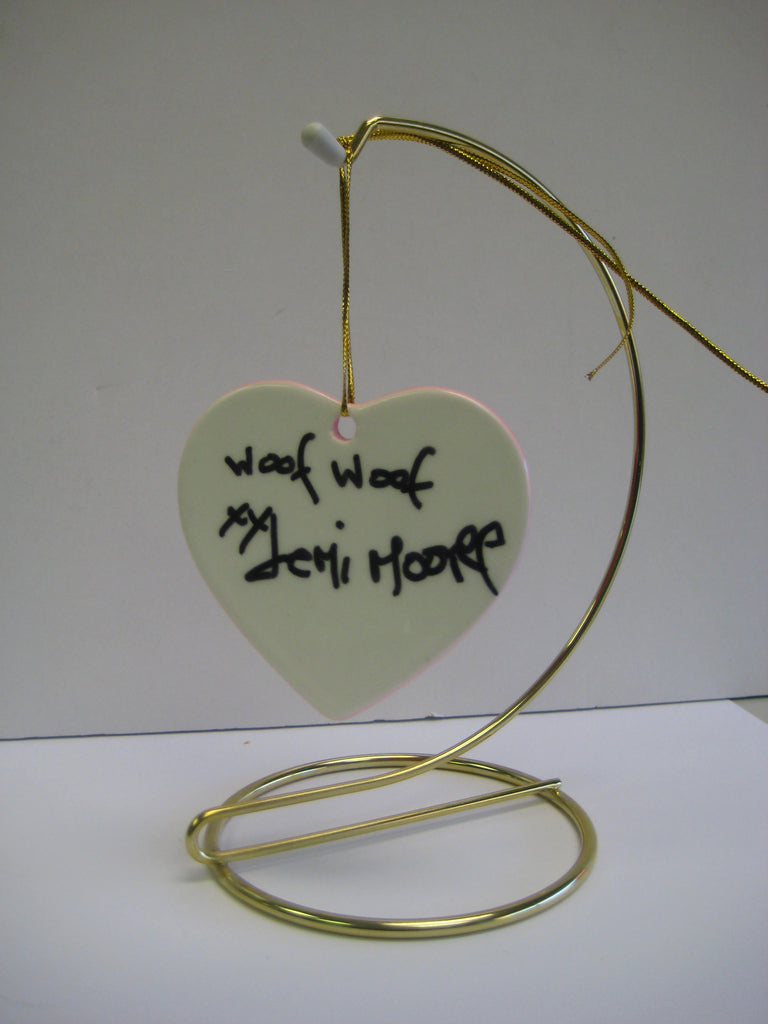 Original Signed Ceramic Heart on Stand by Actress Demi Moore