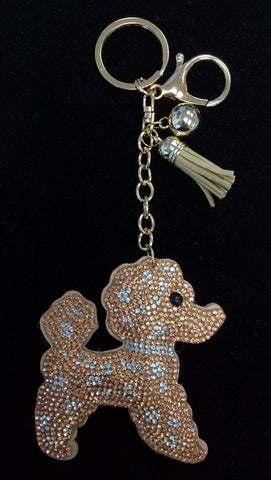 Gold Tone Bling Dog Keychain, Backpack Charm or Bag Charm