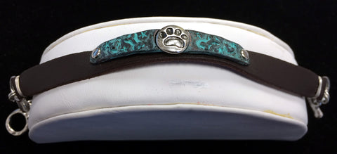 Turquoise Tone Leather Bracelet with Paw