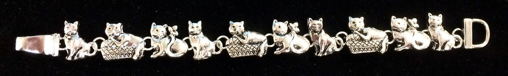 Silver Tone Cat Bracelet with Magnetic Closure