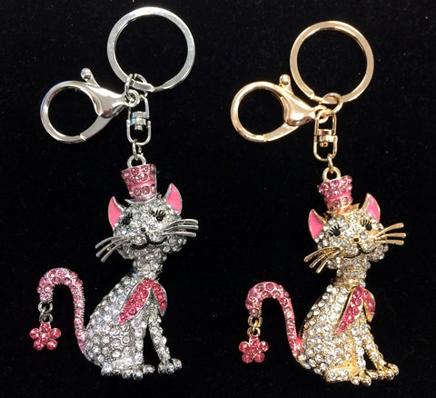 Crystal Cat Keychain, Backpack Charm or Bag Charm (Available in 2 Colors)