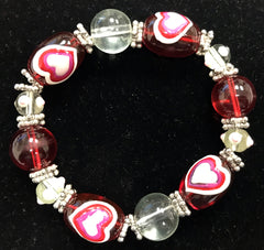 Stretch Heart Bead Bracelet