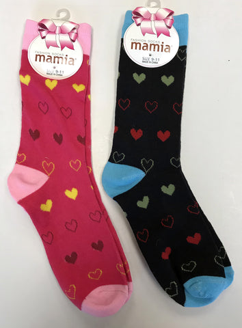 2 Pairs of Women's Heart Socks