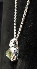Charles Krypell Sterling Silver & Gold Green Pendant Necklace