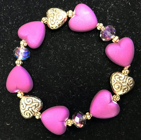 Heart Stretch Bracelet in Assorted Colors