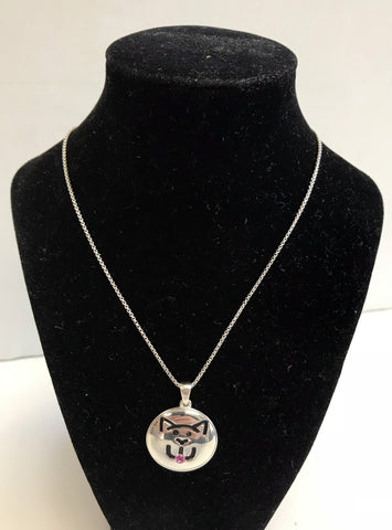 Designer Charles Krypell Custom Sterling Silver Cat Necklace with Pink Sapphire