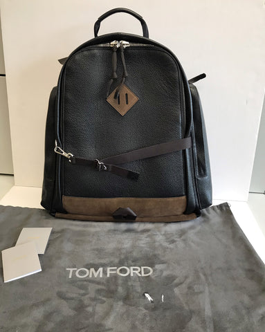 Tom Ford Men's Black/Tabac Leather All Around Zip with side pockets Backpack