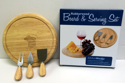 Rubberwood Board & Serving Set