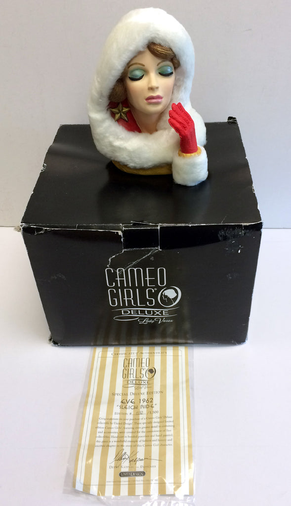 "New Cameo Girls Lady Head Vase Eve 1962 ""Sleigh Ride"" # 692/1500 MIB LV-066"