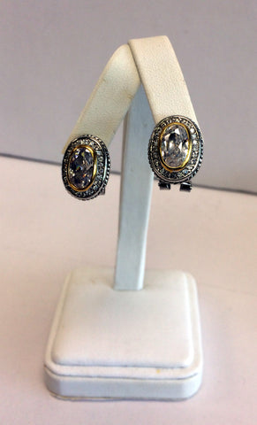 Two Tone Oval Stud Earrings with Cubic Zirconia Crystals