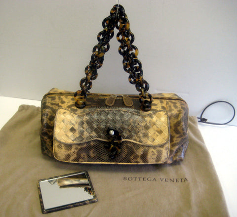 Bottega Veneta Beige/Brown Snakeskin Satchel Bag
