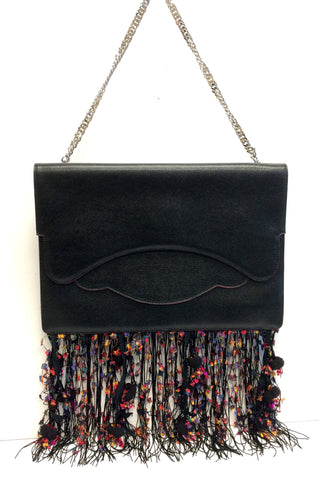 Thale Blanc Leather Handbag with Multicolor Fringe