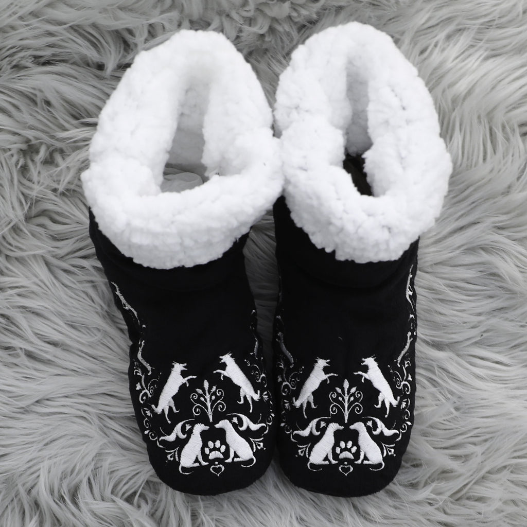 """I Sleep With Dogs"" Dog Paw Black Bedroom Booties"