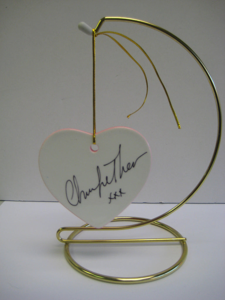 Original Signed Ceramic Heart on Stand by Oscar Winner Charlize Theron