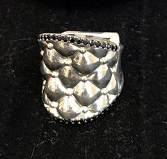 Charles Krypell Sterling Silver Tufted Ring with 40 Round Black Sapphires