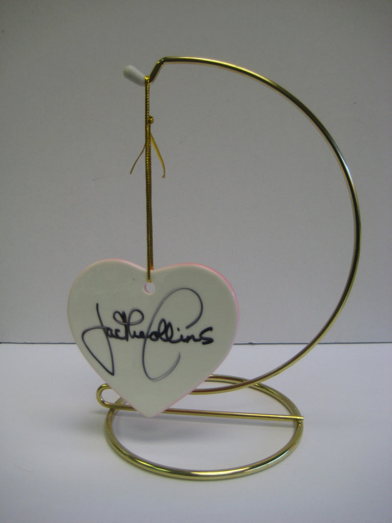 Original Signed Ceramic Heart on Stand by Jackie Collins