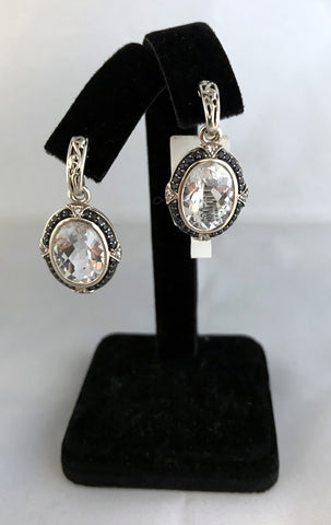 Charles Krypell Sterling Silver & 14k Gold Dangling Earrings with Saphires and Quartz Stones