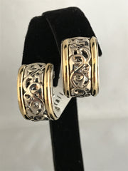 Charles Krypell Sterling Silver & Gold Ivy Earrings with Omega Backs