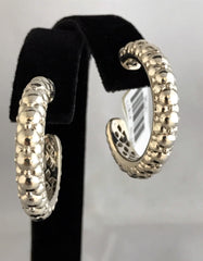 Charles Krypell Sterling Silver Tufted Hoop Earrings