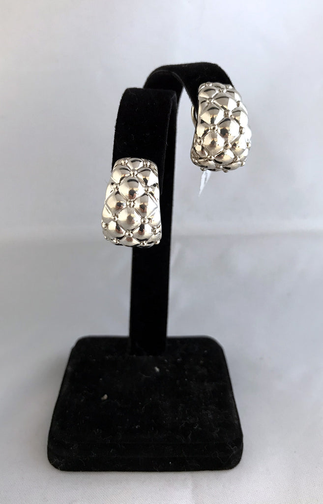 Charles Krypell Sterling Silver Tufted Huggies Earrings with Omega Backs