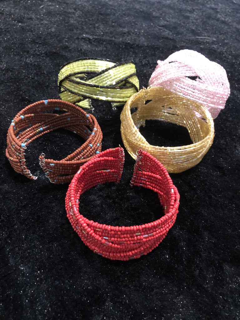 Set of Five Assorted Beaded Cuff Bracelets