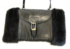REAL FUR AND LEATHER MUFF/PURSE HANDWARMER CROSSBODY