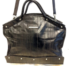 POMME DE ELLIE - Black Eel Skin Leather Shoulder and Crossbody Handbag