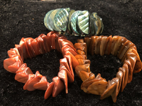 Set of Three Wide Stretch Shell Bracelets