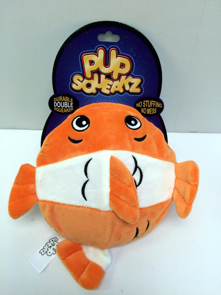 """Pup Squeakz"" Durable Fish No Stuffing Dog Toy"