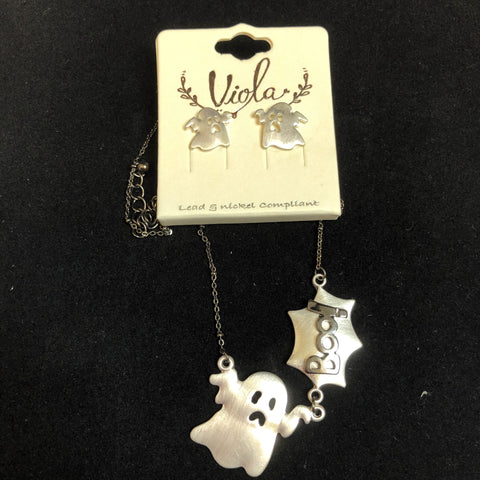 Halloween Ghost Necklace and Earring Set