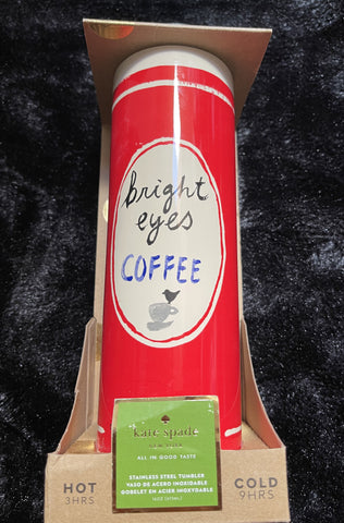 "Kate Spade ""Bright Eyes"" Insulated Hot (3hrs) & Cold (9hrs) 16oz Stainless Steel Coffee Tumbler"