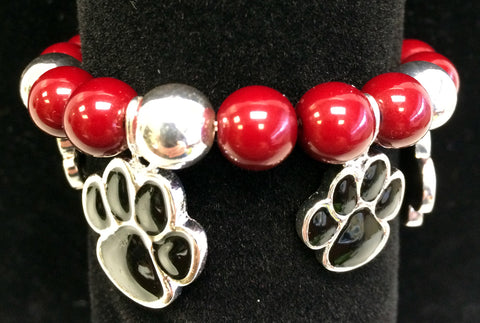 Stretch Paw Bracelet in Dark Red or Blue