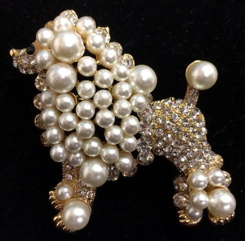 Crystal and Faux Pearl Poodle Pin