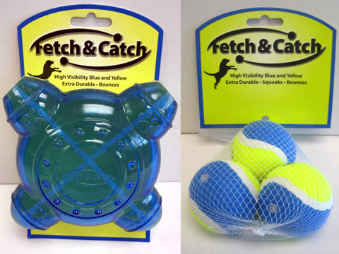 "*SPECIAL* ""Fetch & Catch"" Durable Treat Dispenser Dog Toy & ""Fetch & Catch"" Set of 3 Balls (Small Size)"