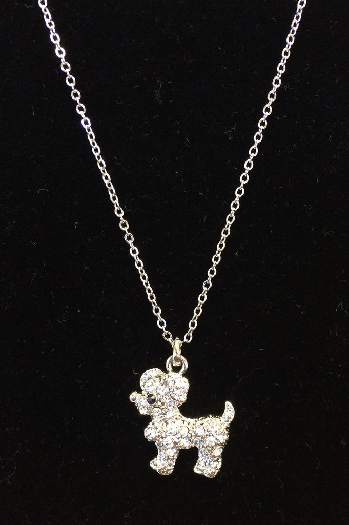 Dog Crystal Necklace in Gold or Silver Tone